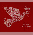 merry christmas happy new year outline dove deco vector image