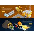 Mining Horizontal Banners Set vector image vector image