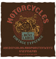 motorcycles vintage label typeface poster vector image vector image