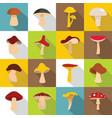 mushroom icons set flat style vector image