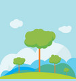 nature landscape on hill with sky background vector image