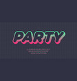 party font 3d bold style vector image