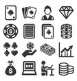 poker casino gambling icons set on white vector image