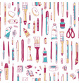 realistic seamless pattern with stationery vector image vector image