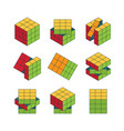 rubiks cube isometric set color puzzle for vector image vector image
