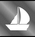 sail boat sign icon hole in moire vector image vector image