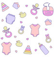 seamless pattern with baby girl items vector image vector image