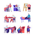 seniors set male and female characters in nursing vector image vector image
