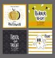 set halloween hand drawn greeting card vector image vector image