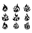 Set of Fire Flames Icon In Black and White Color vector image