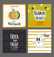 set of halloween hand drawn greeting card with vector image vector image