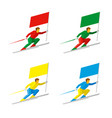 set of simple athletes skiing with colored flags vector image