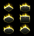 Set of six frames surrounded with yellow flame