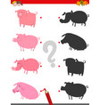 shadow game with cute pig characters vector image vector image