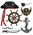 sketch pirate attributes icon vector image vector image