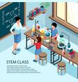 stem school classroom background vector image vector image