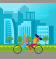 tandem bicycle riders girl and guy riding on vector image vector image