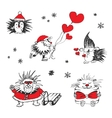 Valentines day card with hedgehogs and hearts vector image vector image
