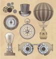 Vintage steampunk design elements