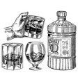 vintage whiskey in hand scotch and bourbon glass vector image vector image