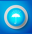 white umbrella and rain drops icon isolated vector image vector image