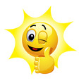 winking smiley showing thumb up vector image