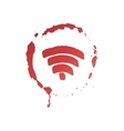 Wireless network symbol inside of wine stain vector image