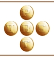 Golden coins with roman letters - part 4 vector image