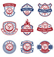 volleyball emblems on white background design vector image