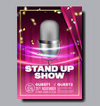 advertising card banner on stand up show vector image
