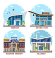 Airport and train station seaport bus vector image vector image