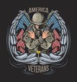 american veteran with wings and american flags vector image vector image