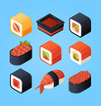 asian isometric food sushi rolls and other japan vector image vector image