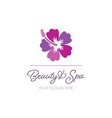 beauty and spa logo template hibiscus design vector image