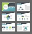 Blue green presentation templates Infographic set vector image vector image