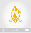 bonfire outline icon summer vacation vector image