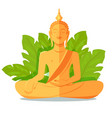 Buddha golden statue in front of green big leaves vector image