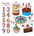 cake set with candles vector image vector image