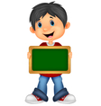 Cartoon boy holding board vector image vector image