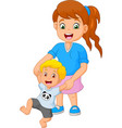 cartoon mother teaches the child to walk vector image