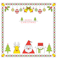 Christmas Character Line Style and Ornament Frame vector image