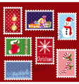 christmas stamp postage vector image vector image