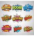 Comic book boom speech bubble set