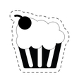cup cake tasty sweet dessert cherry pictogram vector image