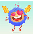 cute cartoon monster in love vector image vector image