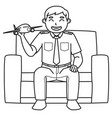 dad character who is a pilot holds a toy plane vector image vector image