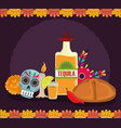 day dead catrina bread tequila candle vector image vector image