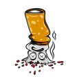 dead burning cigarette with sad face vector image