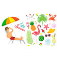 enjoy summer summertime elements set of icons vector image vector image