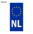eu country identifier blue band on license plates vector image vector image